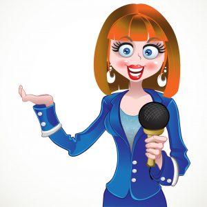 vector reporter girl in blue suit