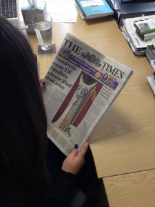 Perry the llama on the front page of The Times of London
