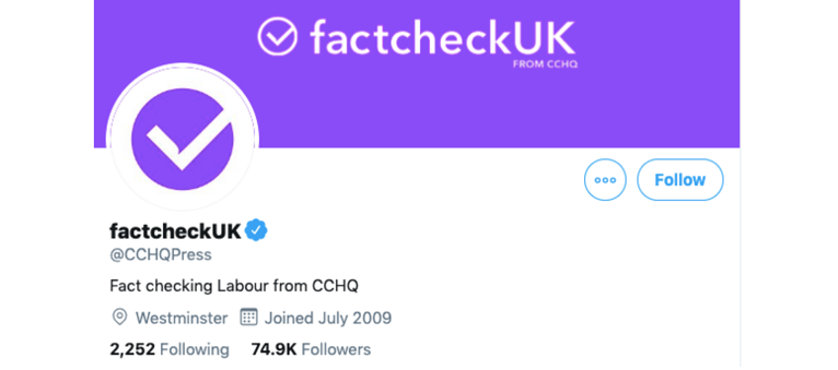The Conservatives and factcheckUK: Using Twitter to Spread Disinformation